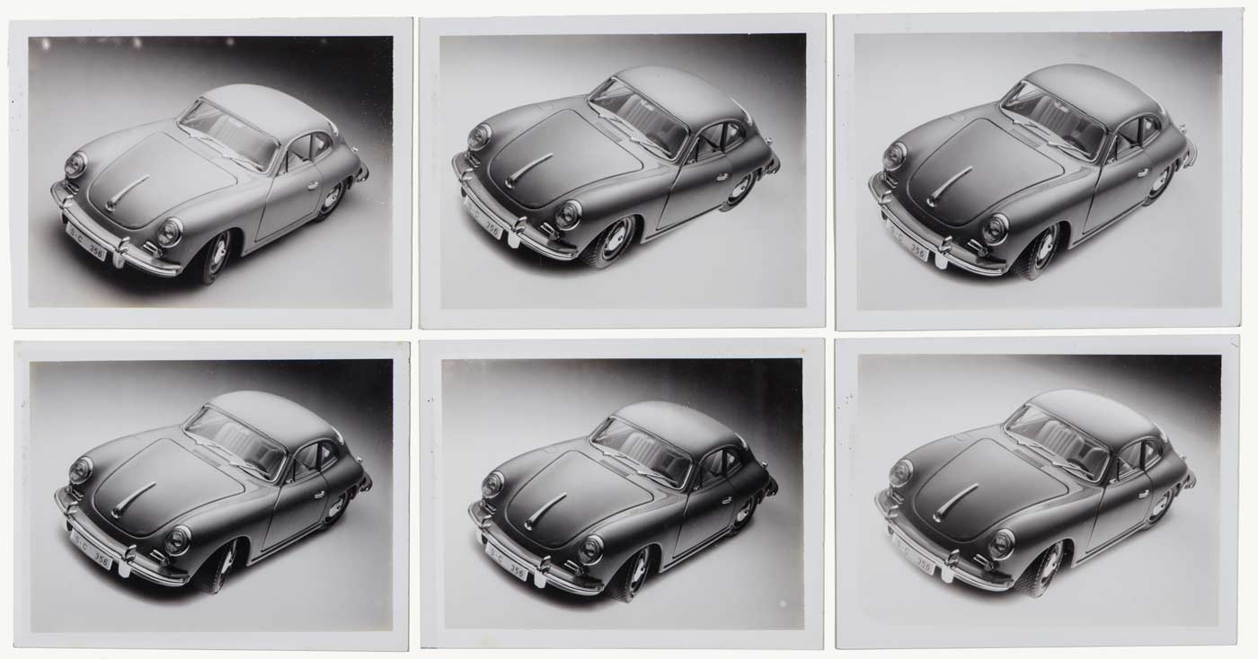 Six Polaroids (Polapan 54) showing the progressive refining of perspective and lighting