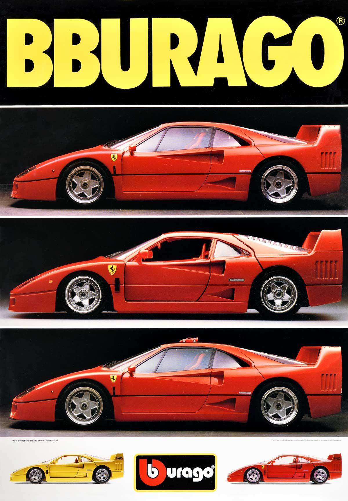 001005 Bburago Poster Ferrari F40 May 1992