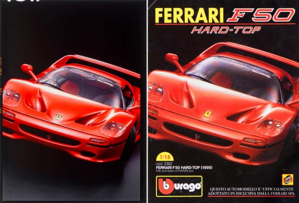 001011 Bburago-Ferrari F50 Hard-Top -Code 3552 Original 13x18cm Dia and Advertisement on Toplino
