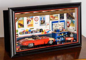 Bburago 3006GF Garage Mmonza Diorama Jaguar E Cabriolet Vintage 1992