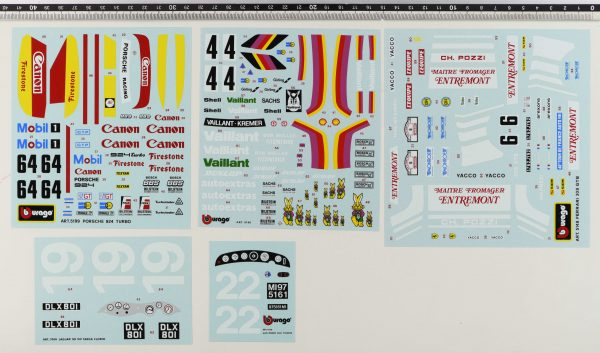 Bburago original vintage decals set code 5199, 5142, 5148, 7006, 7008