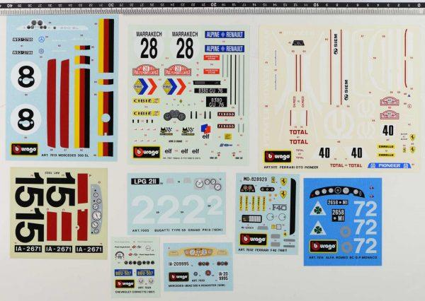 Bburago original vintage decals set code 7013, 7001, 5172, 7002, 7005, 7032, 7014, 7024, 7020