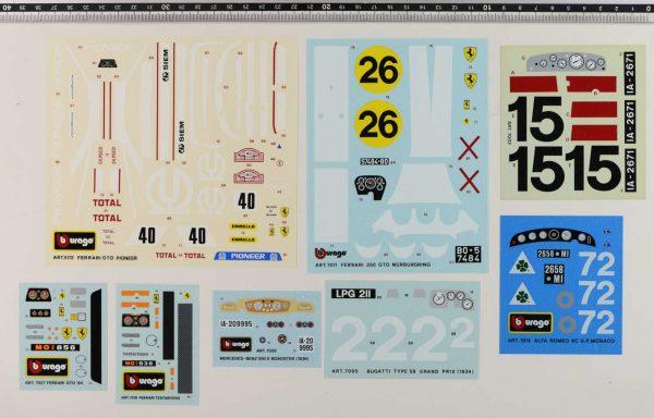 Bburago original vintage decals set code 5172, 7011, 7002, 7027, 7019, 7020, 7005, 7014