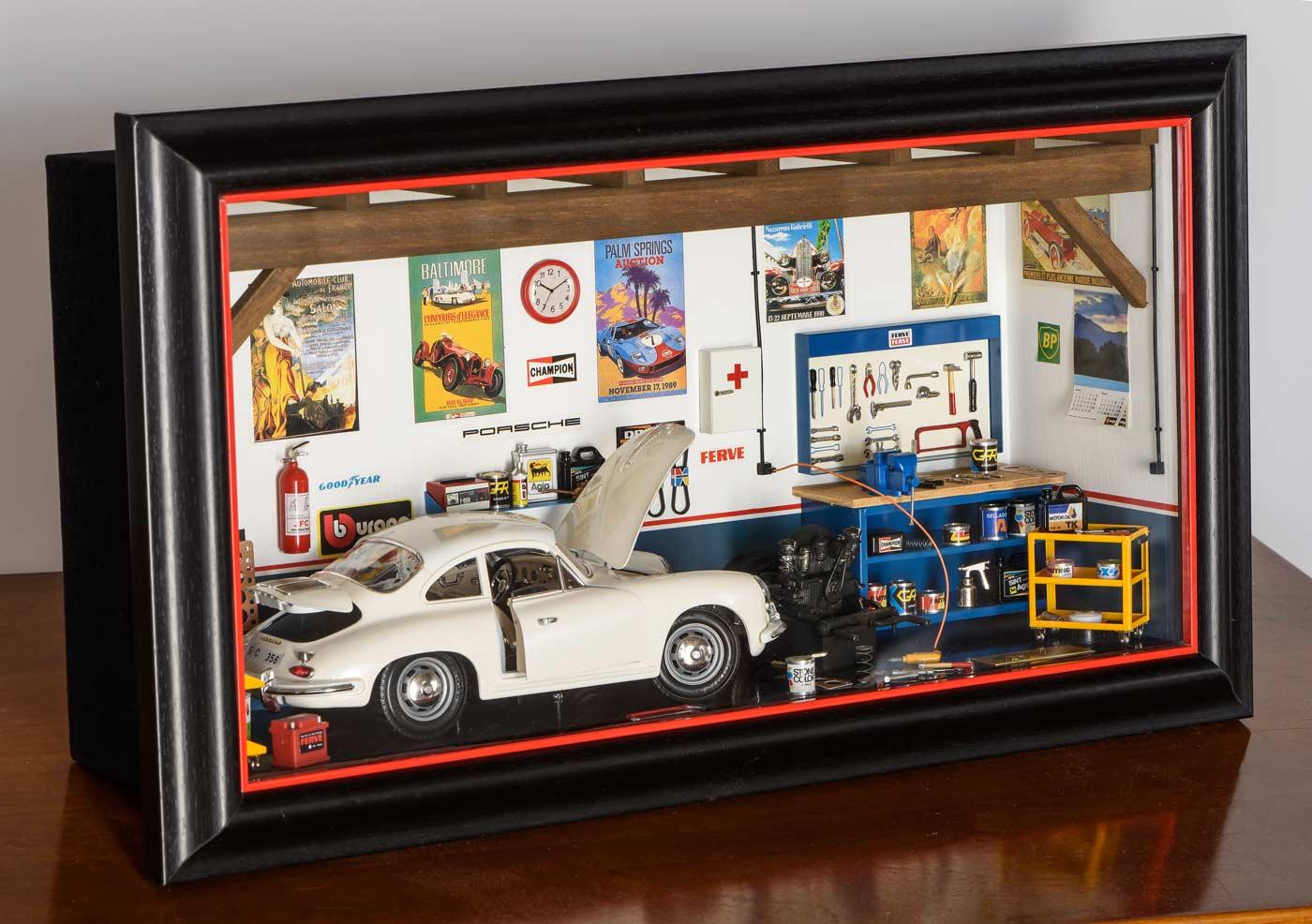 Bburago 3021/GF Garage Mmonza Diorama Porsche 356B Coupe