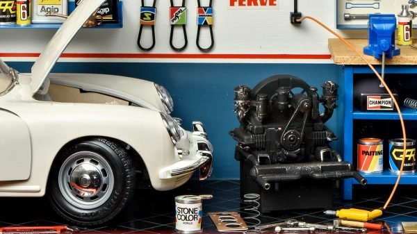 Bburago Garage Mmonza 3006GF with Porsche 356B Coupe - Close up