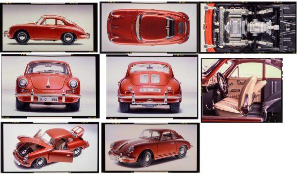 "Bburago 7021 Kit Porsche Original Vintage 4x5"" Slide 356B Coupe Original Vintage 4x5"" Slides"