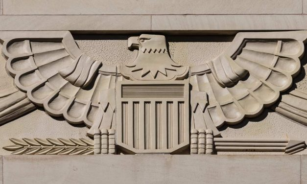 US Bald Eagle Emblem in 1930s Art Deco Architecture