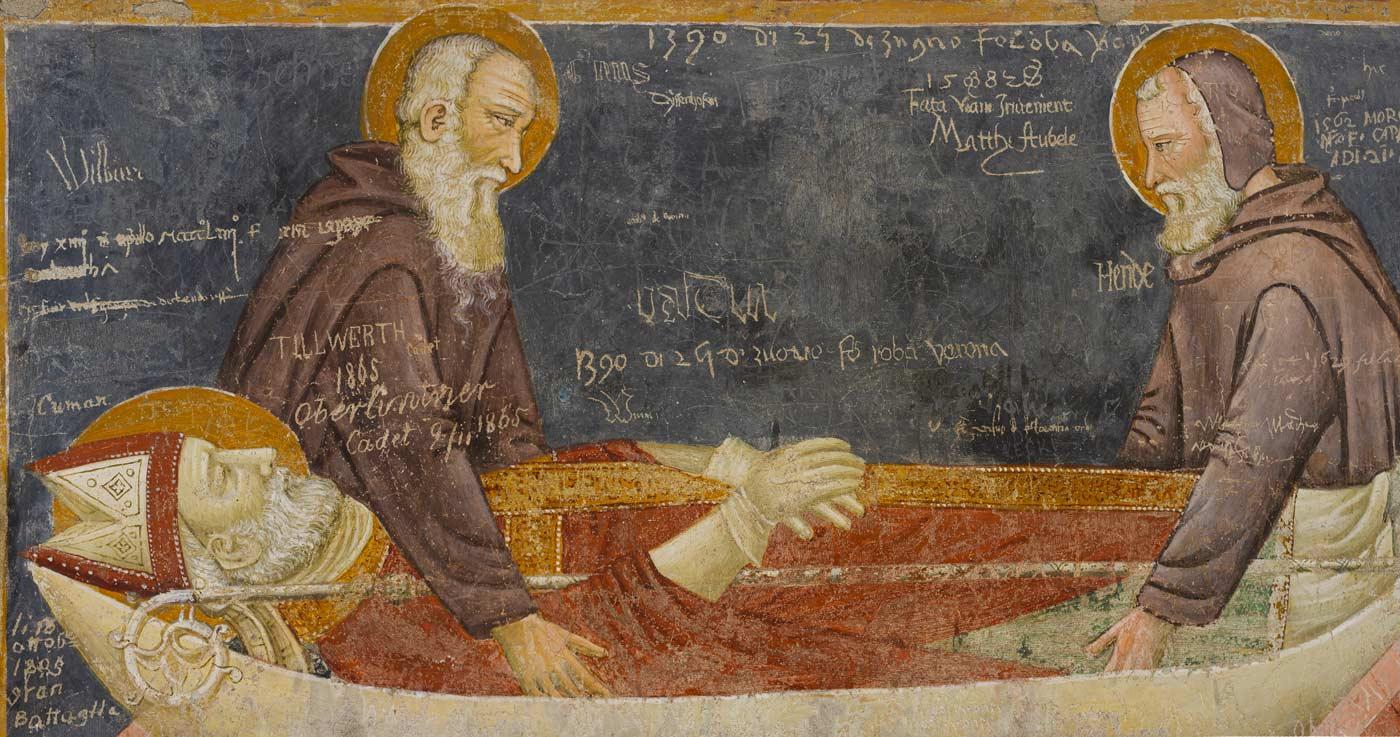 A fresco depicting the Saints Benigno and Caro burying San Zeno. The add a graffiti with the date, June 24, 1390.