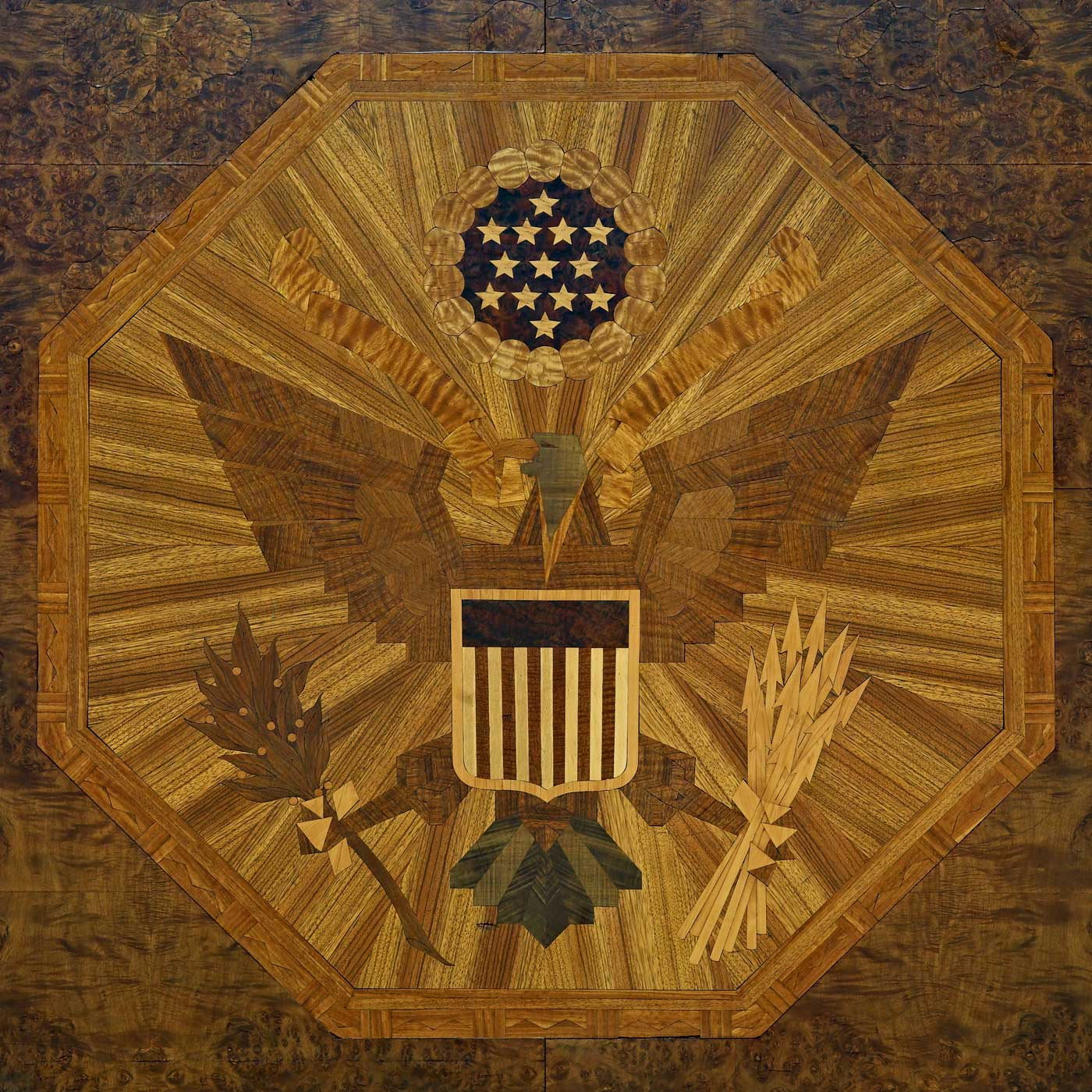 Art Deco US Bald Eagle. 1931 interior inlays in wood lobby detail. James T. Foley U.S. Post Office and Courthouse, Albany, New York Photo by Carol M. Highsmith1