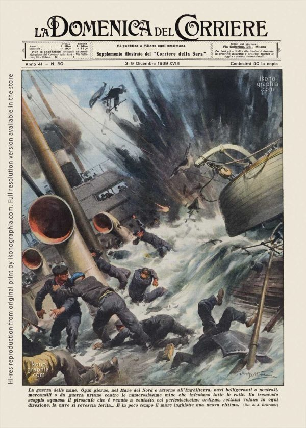 "A plate by Achille Beltrame for ""La Domenica del Corriere"". Mines war in the North Sea around England."