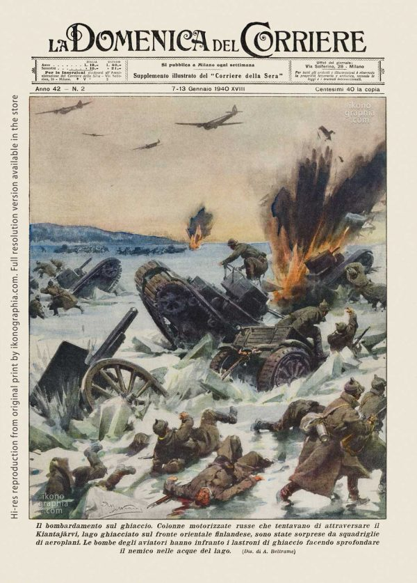 "A plate by Achille Beltrame for ""La Domenica del Corriere"". Bombing the Reds on the ice."