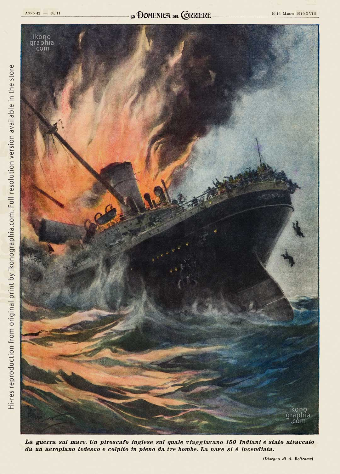 """A plate by Achille Beltrame for """"La Domenica del Corriere"""". The war on the Indian Sea."""