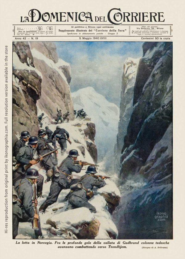 """An iconic 1939 illustration by Achille Beltrame for """"La Domenica del Corriere"""". Mines War in the North Sea around England."""