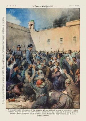 """A plate by Achille Beltrame for """"La Domenica del Corriere"""". Germans greeted as liberators in a concentration camp in Russia."""