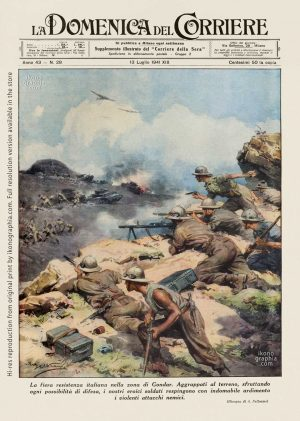 """A plate by Achille Beltrame for """"La Domenica del Corriere"""". Italian infantry against British troops in North Africa."""