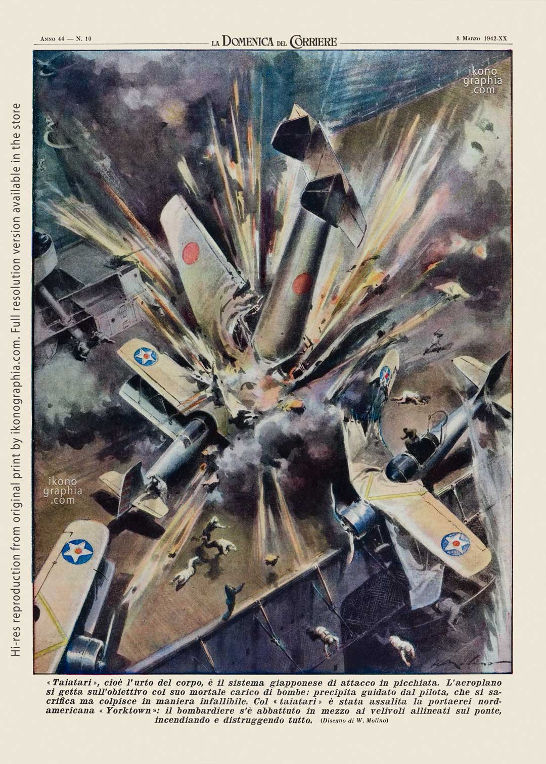 """A plate by Walter Molino, Beltrame's most talented pupil. for """"La Domenica del Corriere. Japanese kamikaze attack on the aircraft carrier Yorktown."""