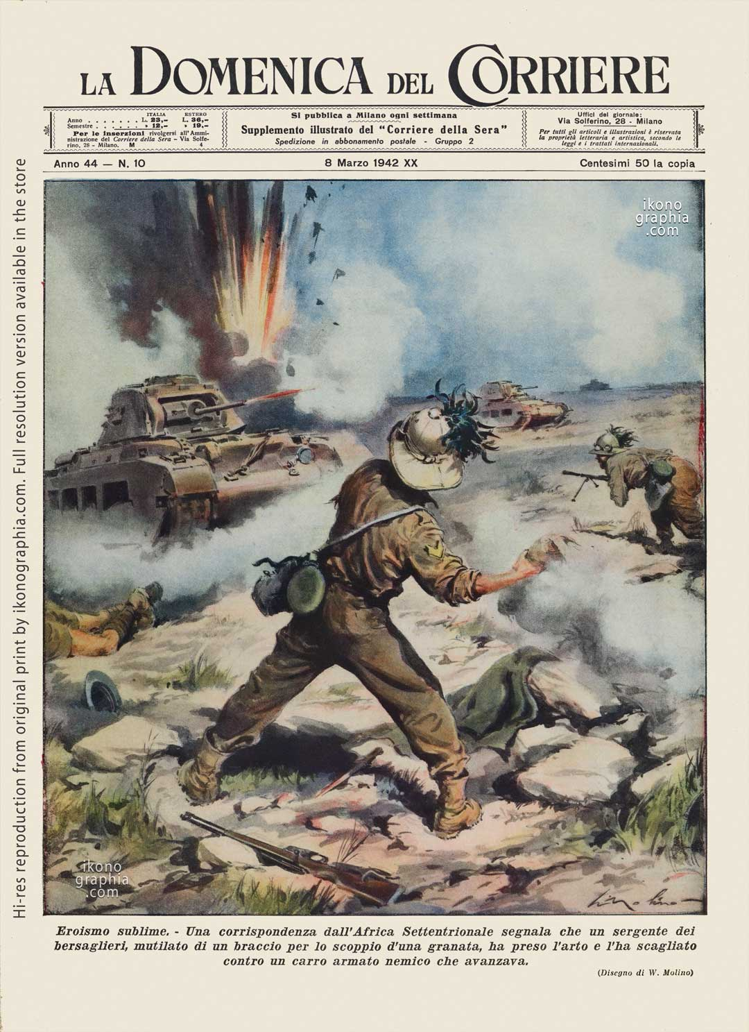 """A plate by Walter Molino, Beltrame's most talented pupil. for """"La Domenica del Corriere. Sublime heroism in North Africa."""
