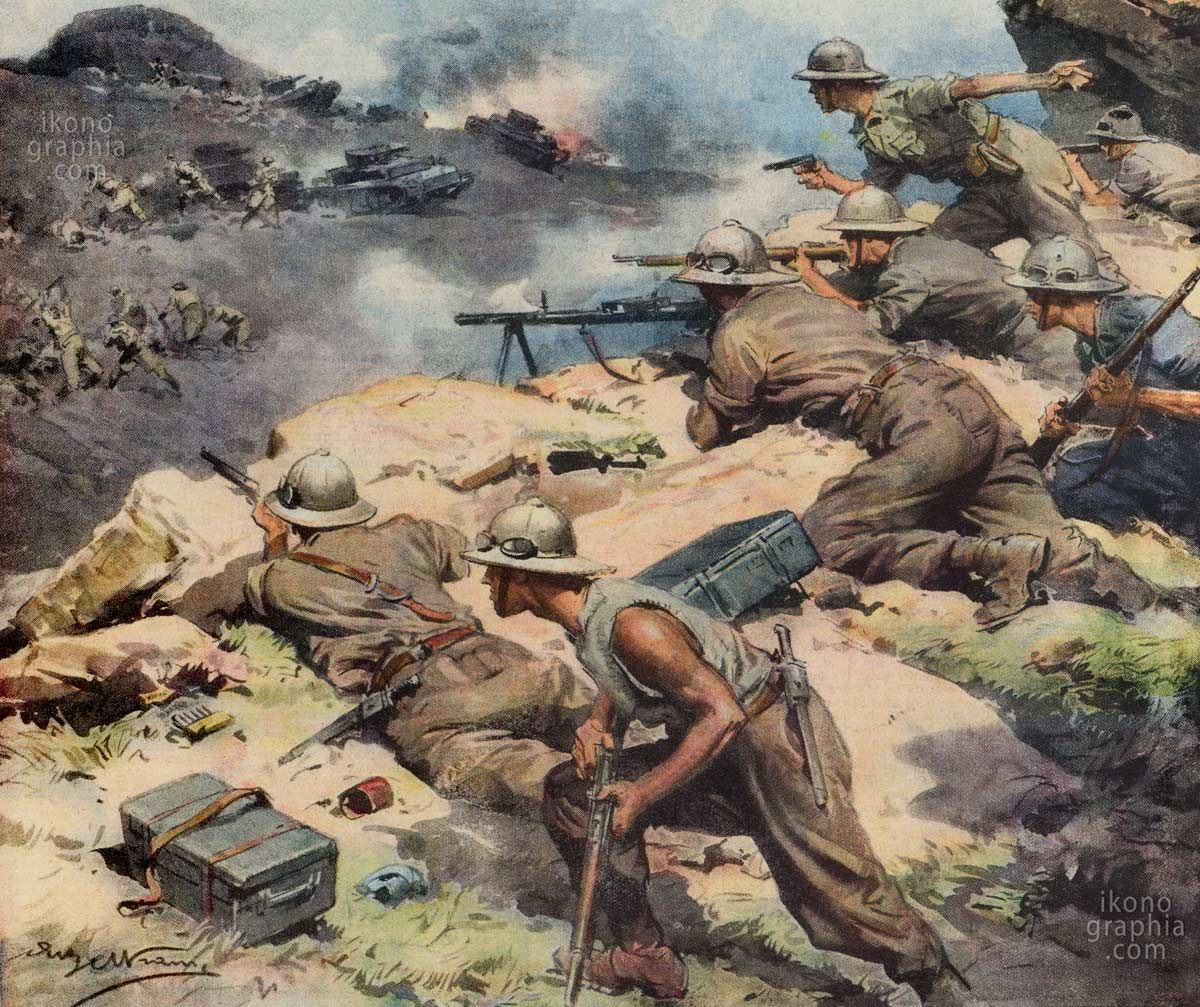 """A detail for a cover of """"La Domenica del Corriere"""". Italian infantry against British troops in North Africa."""