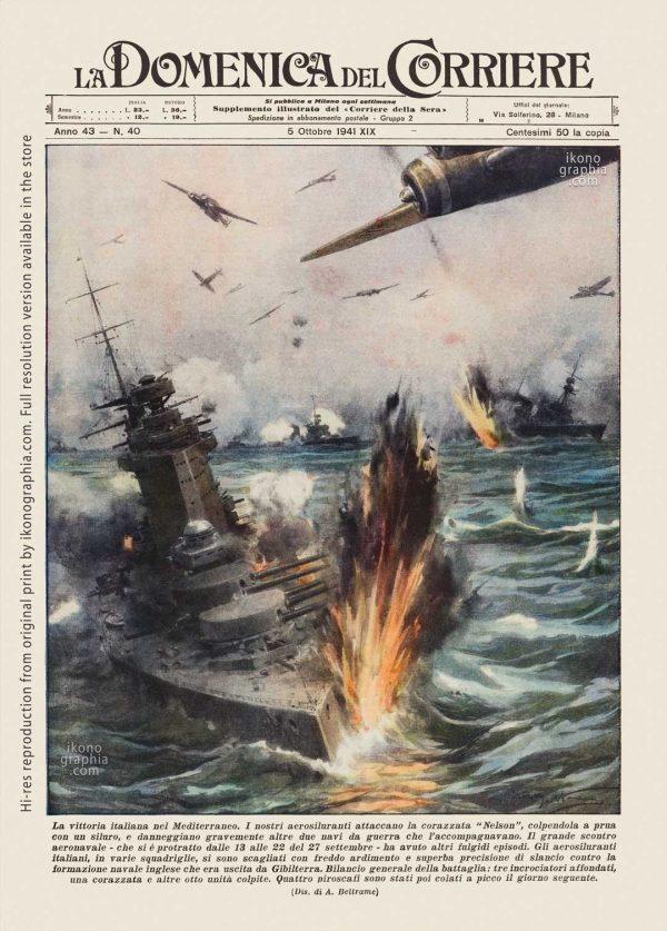 "A plate by Achille Beltrame for ""La Domenica del Corriere"". Mines war in the North Sea around England."