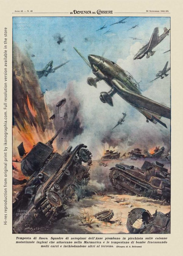 "A plate by Achille Beltrame for ""La Domenica del Corriere"". Firestorm on the British columns."