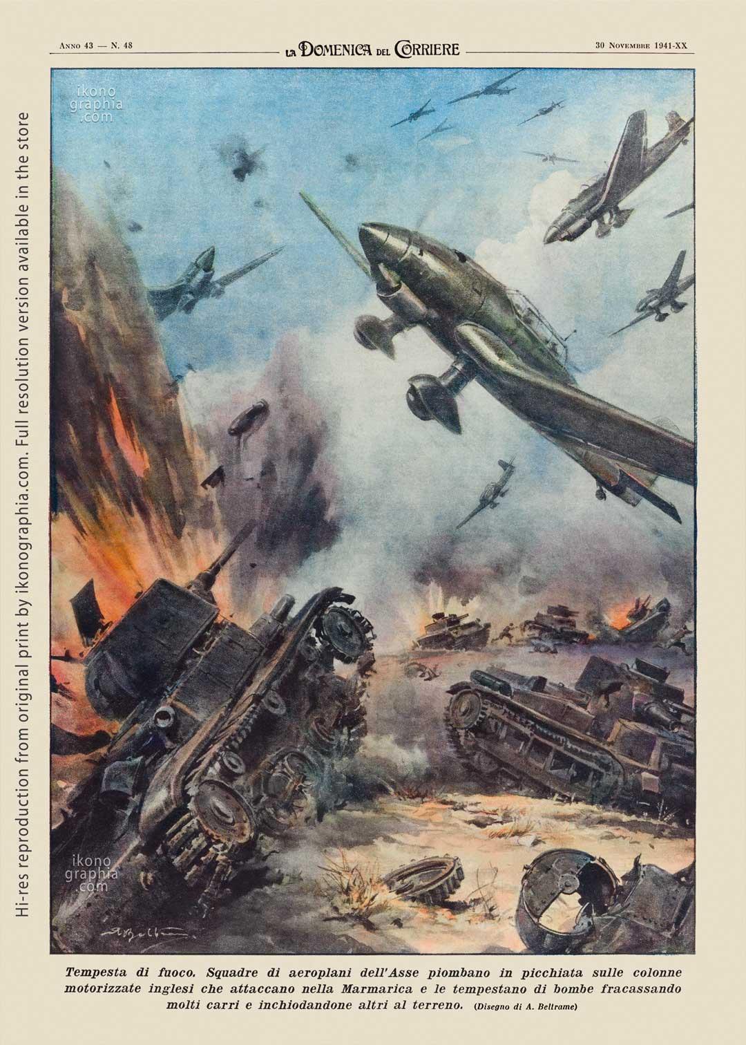 "A plate by Achille Beltrame for ""La Domenica del Corriere"". Firestorm on the British columns."