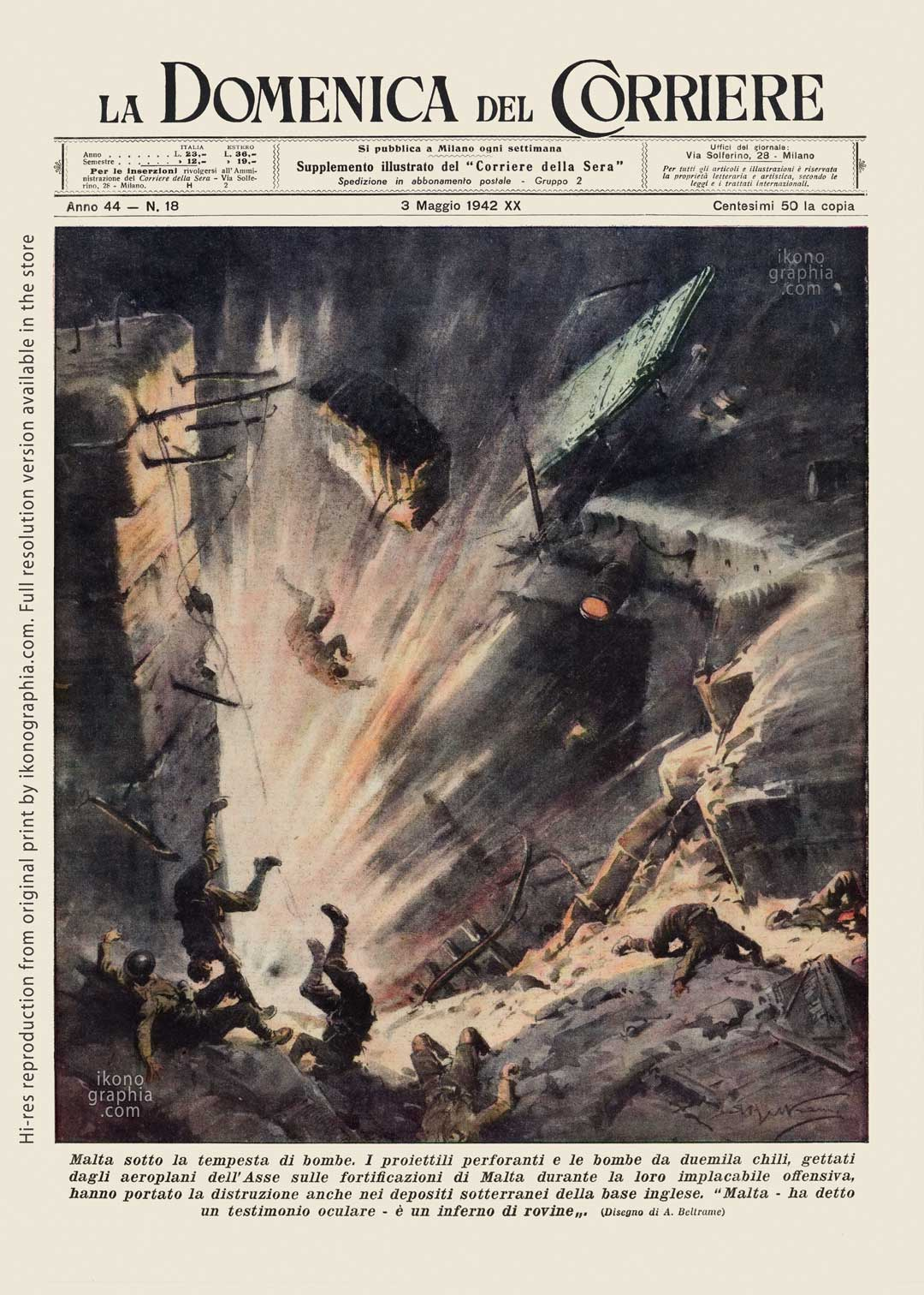 "A plate by Achille Beltrame for ""La Domenica del Corriere"". Axis aircraft bombing Malta."
