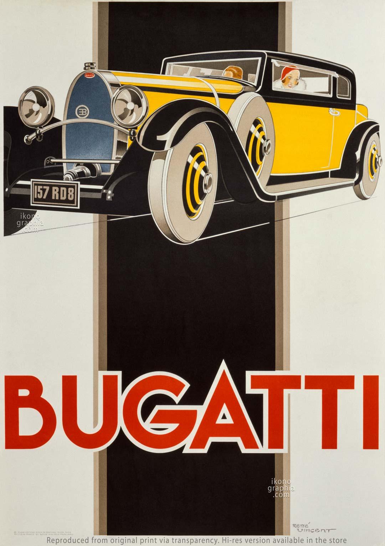 1930 Bugatti Poster by René Vincent