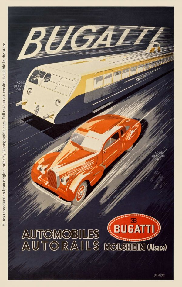 Bugatti Automobiles et Autorails. 1935 - Art by R.Geri
