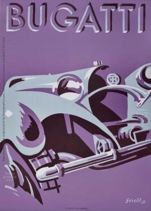 An impacting 1932 Bugatti Poster by Gerold