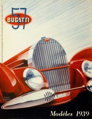 The impactinng cover for Bugatti Type57 Modéles 1939 brochure.