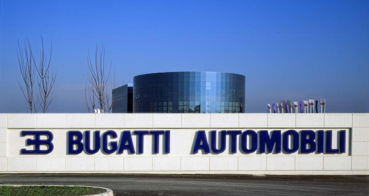 The main entrance of Bugatti Automobili at Campogalliano with the circular building. Photo Roberto Bigano. Buy this image in the ikonographia.com store.