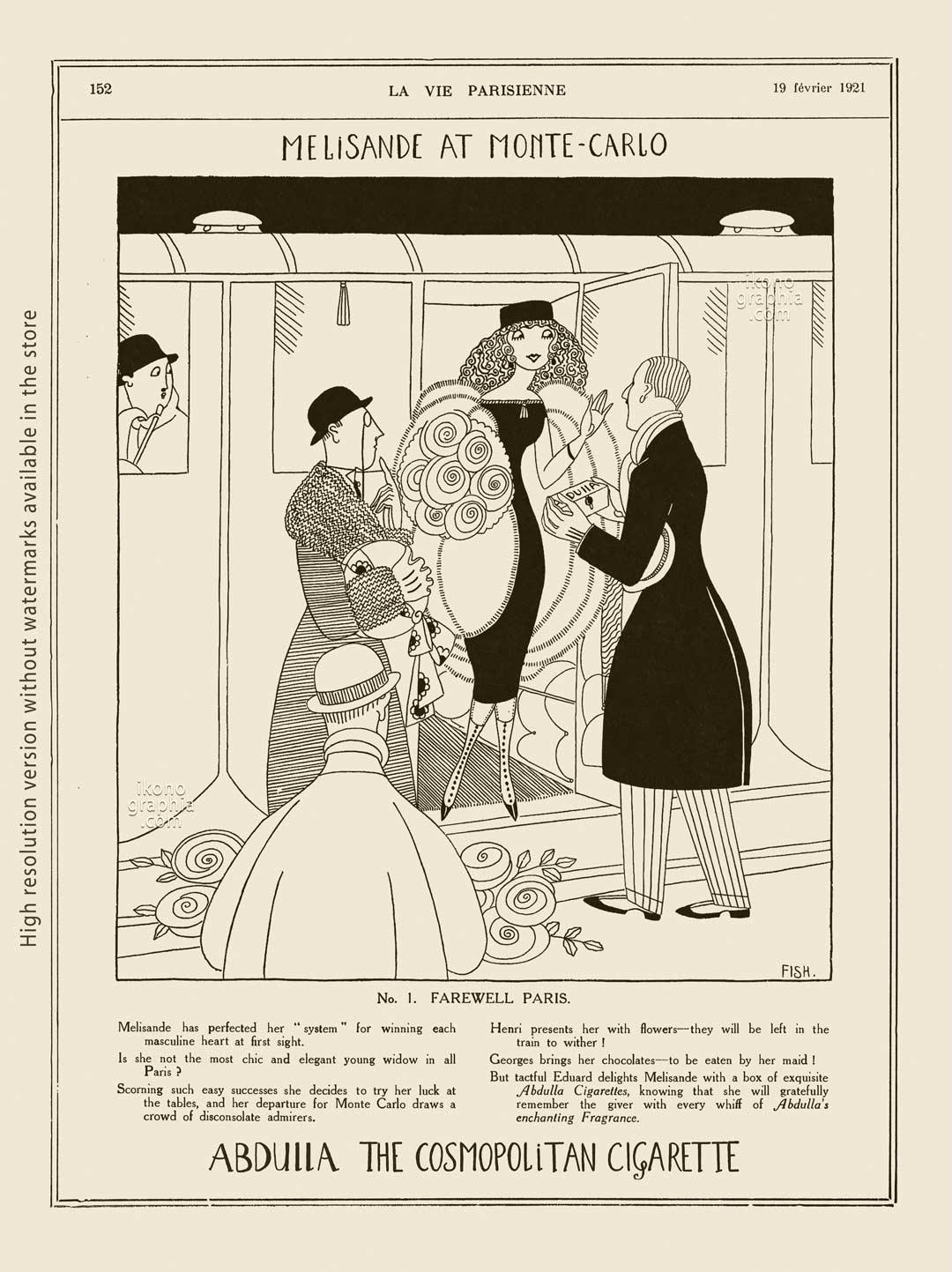 Abdulla Cigarettes Ad - Melisande at Montecarlo. No. 1. FAREWELL PARIS. La Vie Parisienne, February 19, 1921. Artwork by Anne Harriet Fish.