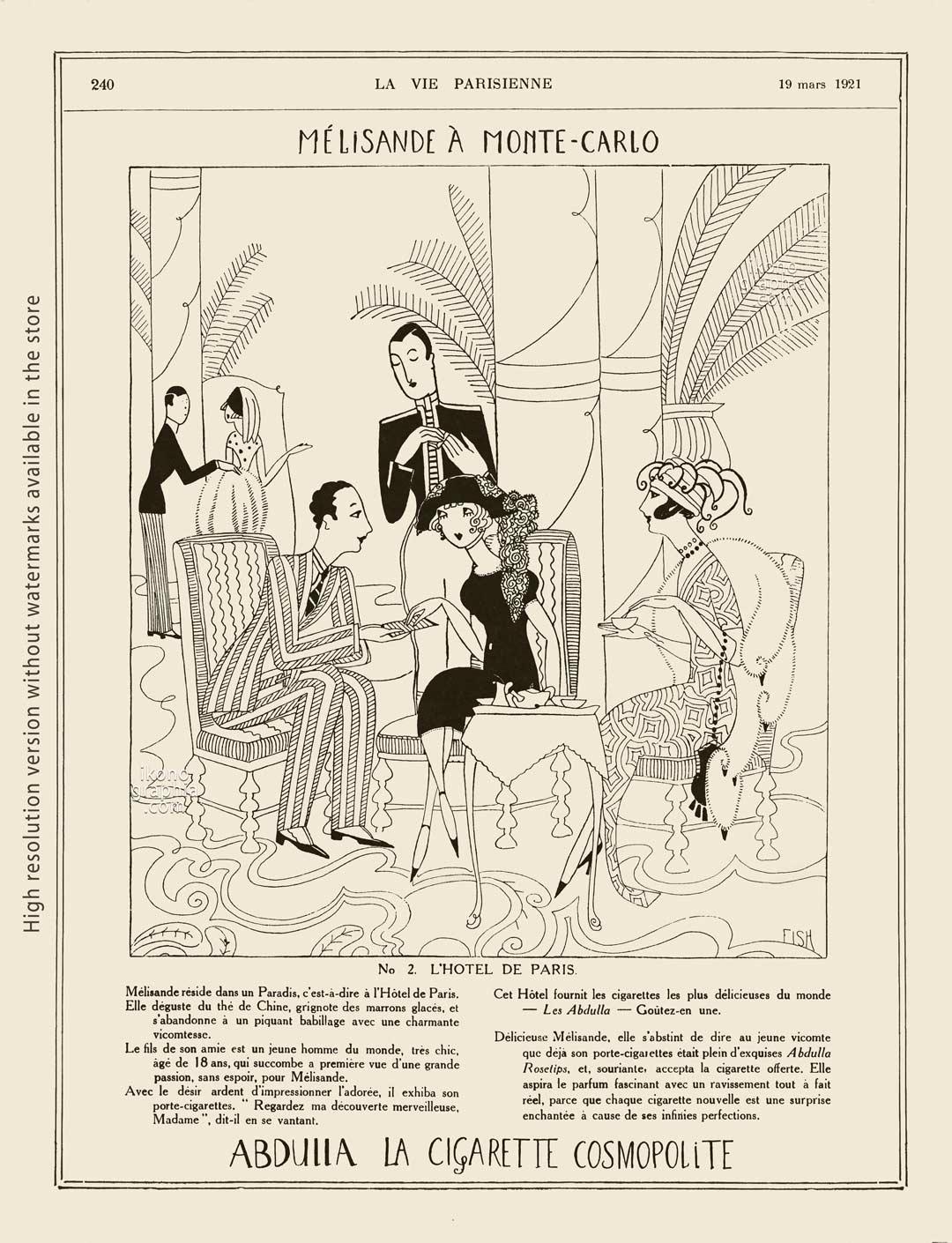 Abdulla Cigarettes Ad - Melisande at Montecarlo. No. 2. L'HOTEL DE PARIS. La Vie Parisienne. March 19, 1921. Artwork by Anne Harriet Fish.