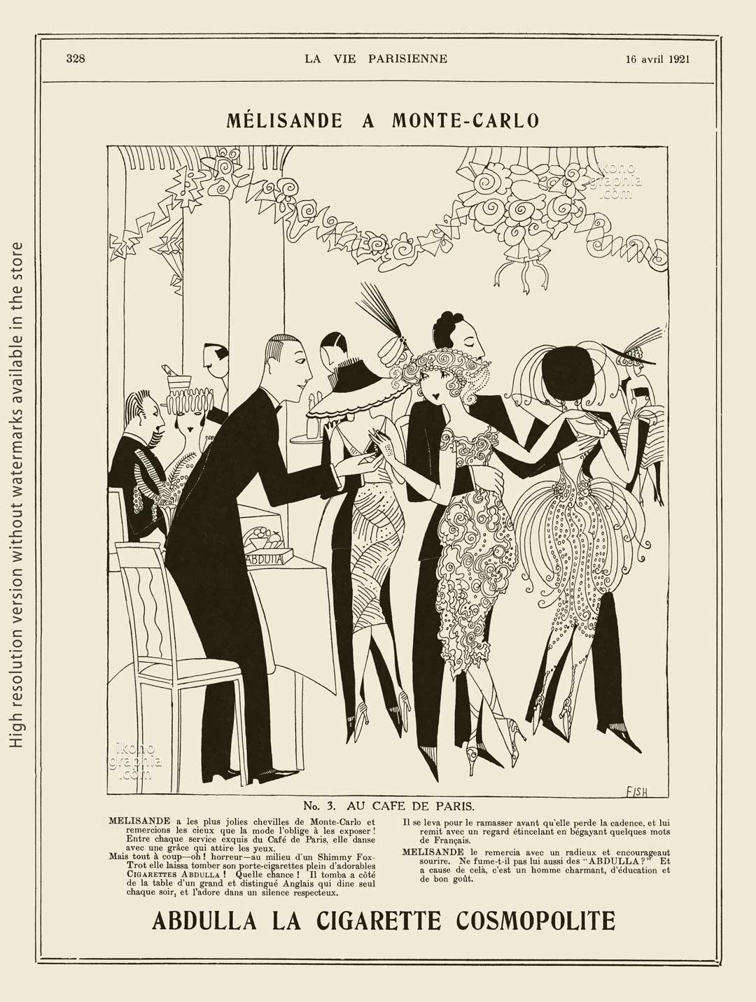 Abdulla Cigarettes Ad - Melisande at Montecarlo. N.3 AU CAFE DE PARIS. La Vie Parisienne. April 16, 1921. Artwork by Anne Harriet Fish.