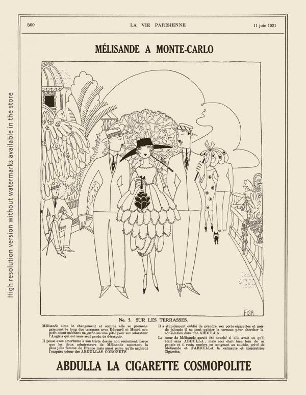Abdulla Cigarettes Ad - Melisande at Montecarlo. No. 4. AU CASINO. La Vie Parisienne. May 7, 1921. Artwork by Anne Harriet Fish.