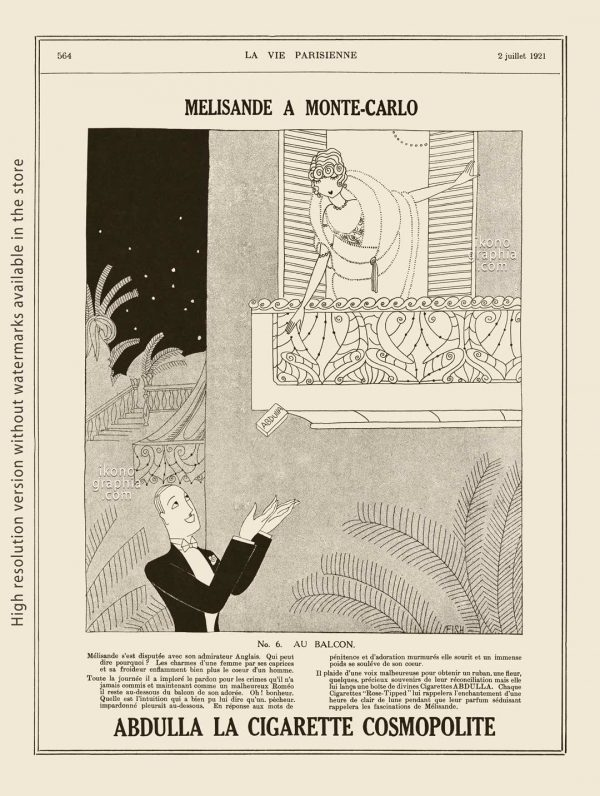 Abdulla Cigarettes Ad - Melisande at Montecarlo. No. 6. AU BALCON / AT THE BALCONY. La Vie Parisienne. July 2, 1921. Artwork by Anne Harriet Fish.