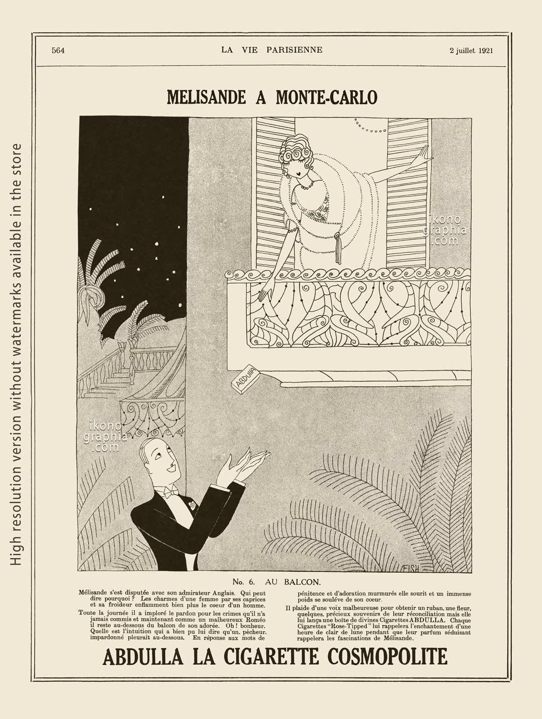 Abdulla Cigarettes Ad - Melisande at Montecarlo. No. 6. AU BALCON / AT THE BALCONY. La Vie Parisienne. July 2, 1921. Artwork by Anne Harriet Fish.