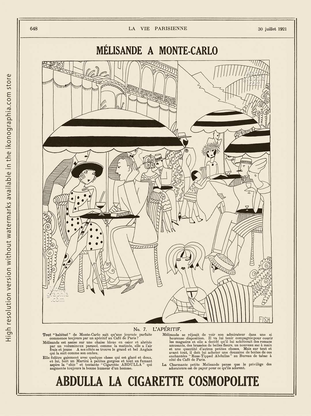 Abdulla Cigarettes Ad - Melisande at Montecarlo. No. 7. L'APÉRITIF. La Vie Parisienne. July 30, 1921. Artwork by Anne Harriet Fish.