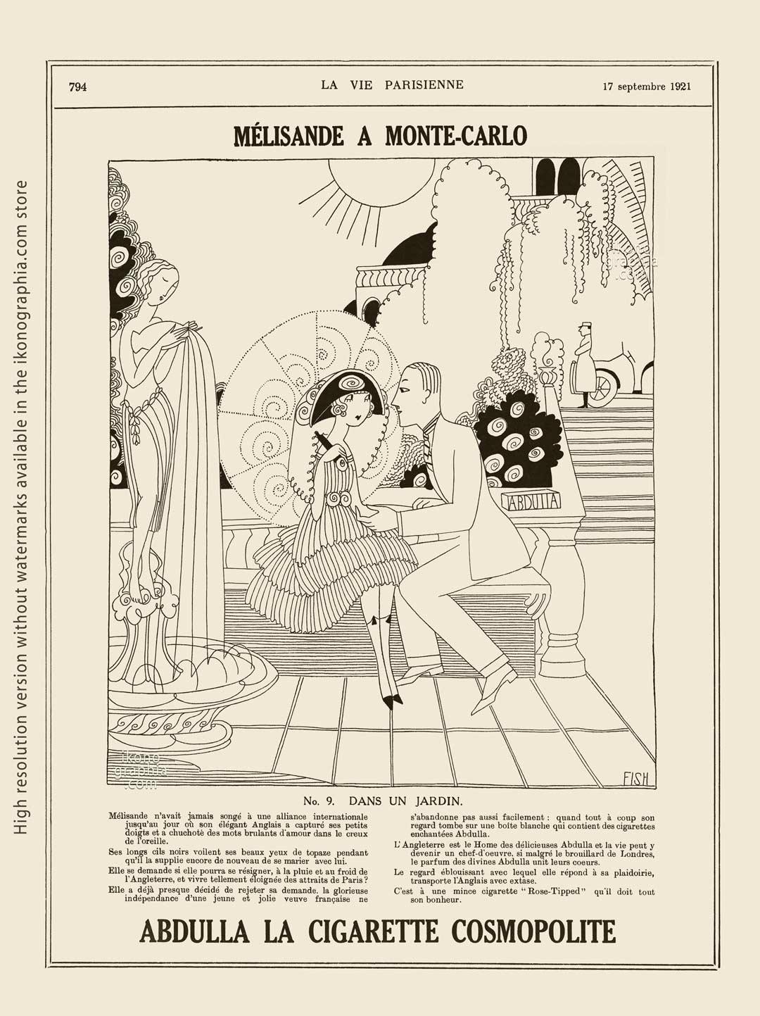 Abdulla Cigarettes Ad - Melisande at Montecarlo. No. 9. DANS UN JARDIN / IN A GARDEN. La Vie Parisienne. September 17, 1921. Artwork by Anne Harriet Fish.