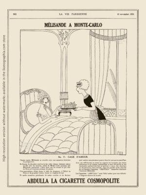 Abdulla Cigarettes Ad - Melisande at Montecarlo. No. 11. GAGE D'AMOUR / LOVE TOKEN. La Vie Parisienne. November 12, 1921. Artwork by Anne Harriet Fish.