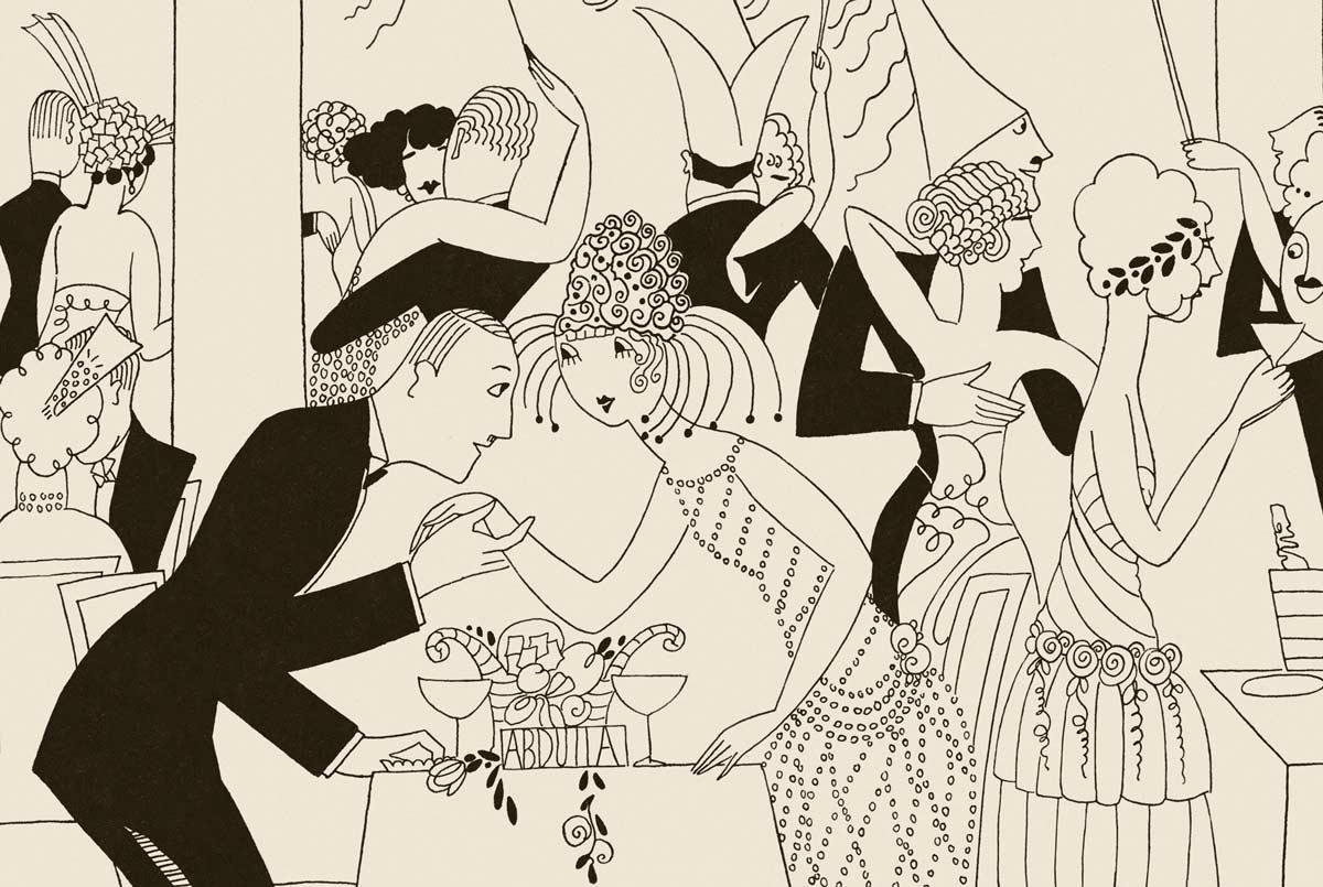 A splendid detail of Abdulla Cigarettes Ad - Melisande at Montecarlo. No. 12. LA NOUVEL AN / NEW YEAR. La Vie Parisienne. December 17, 1921.