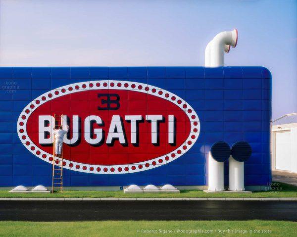 """Bugatti Automobili. The """"Prove Motori"""" development building. The immense Bugatti logo, visible from miles away, was a symbol of belonging and pride. Photo Roberto Bigano"""