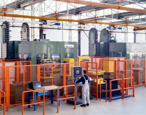 Bugatti Automobili. A view of the bright and tidy Production building with a Mandelli Machinery.
