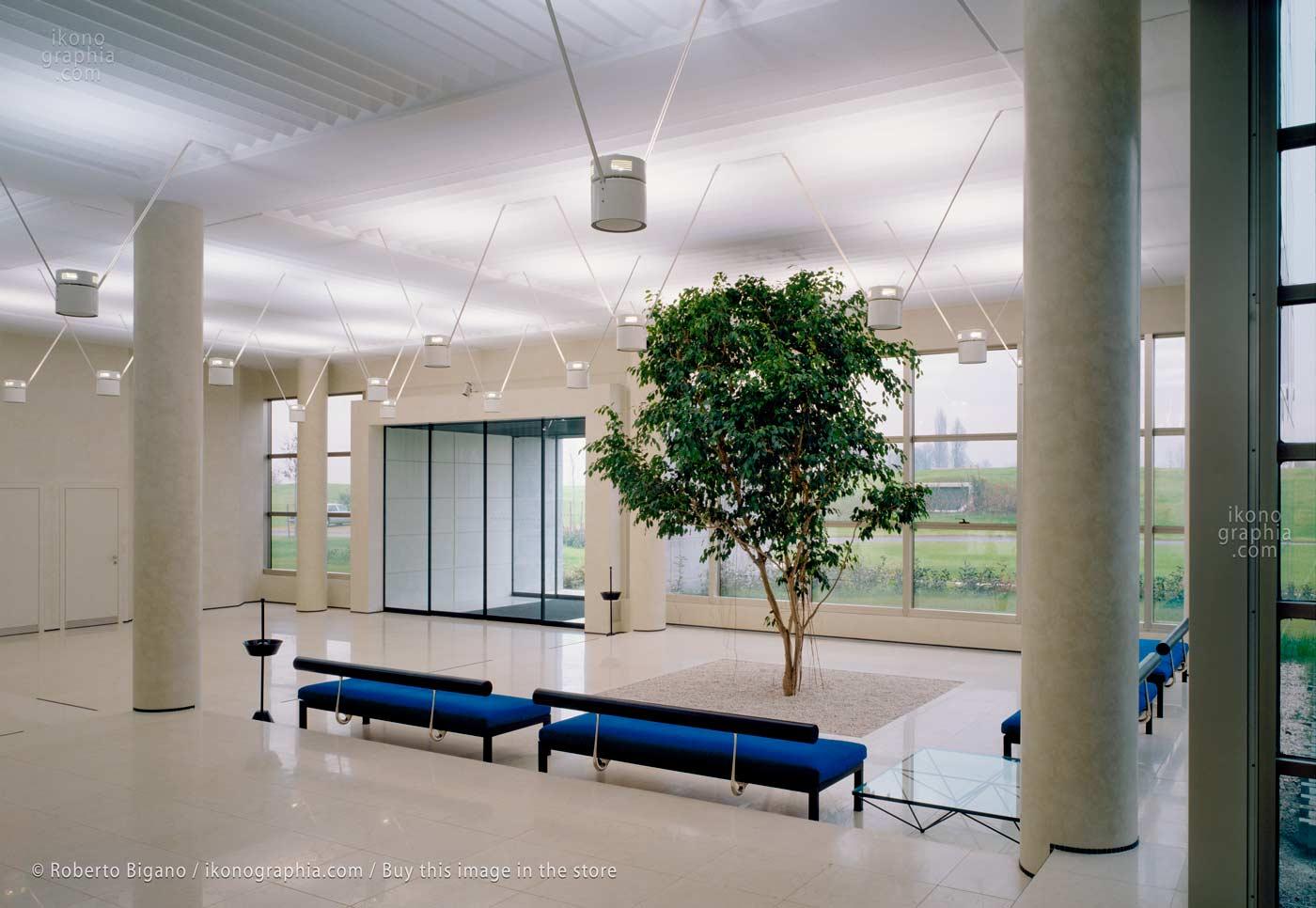 Bugatti Automobili. The large and bright luxury hall