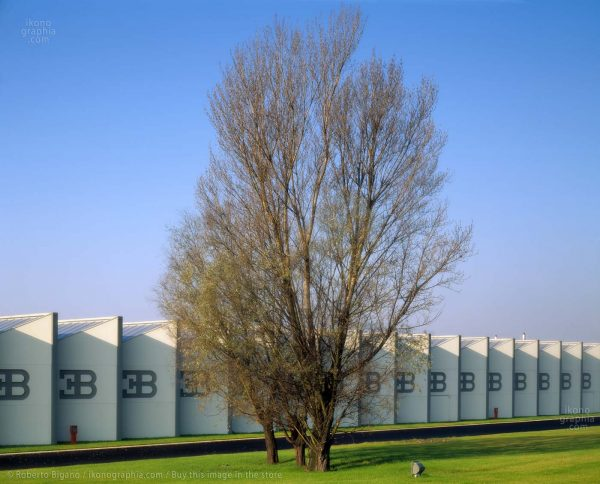 Bugatti Automobili factory. The iconic modular structure with Ettore Bugatti's EB logo and the large windows
