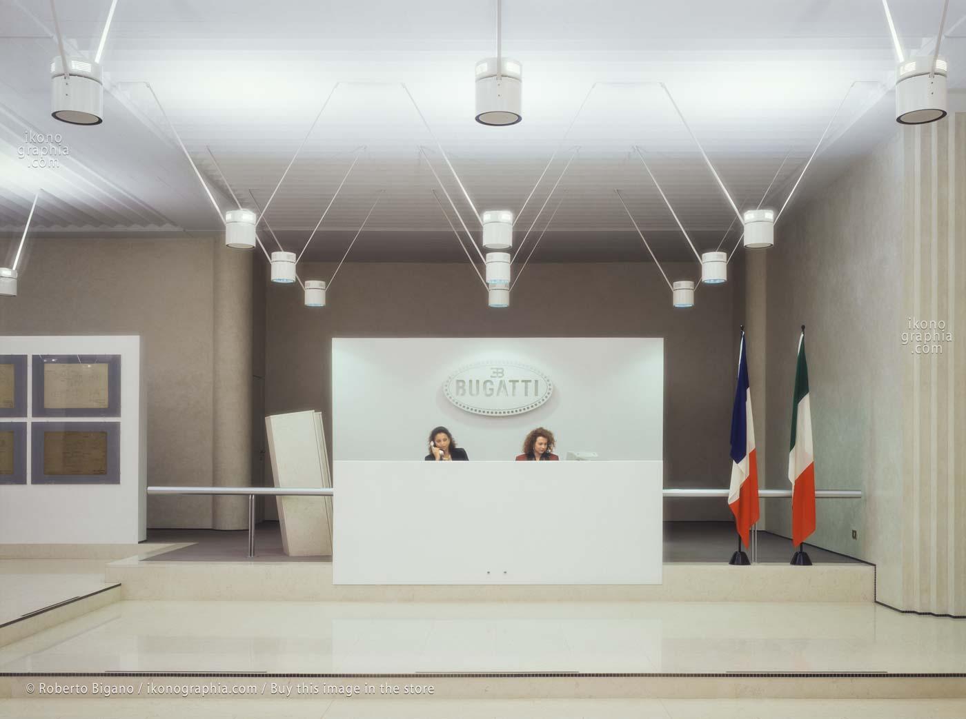 Bugatti Automobili. The large and bright luxury reception