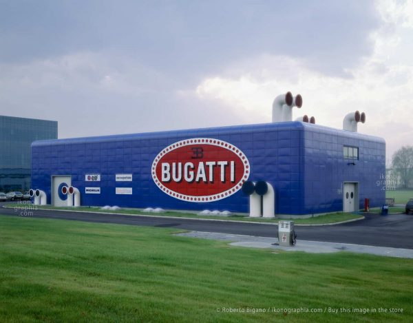 "Bugatti Automobili. The ""Prove Motori"" development building seen from north-east. The immense Bugatti logo, visible from miles away, was a symbol of belonging and pride. Photo Roberto Bigano. Buy this image in the ikonographia.com store."