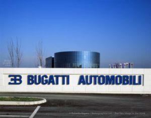 The main entrance of Bugatti Automobili at Campogalliano with the circular building.