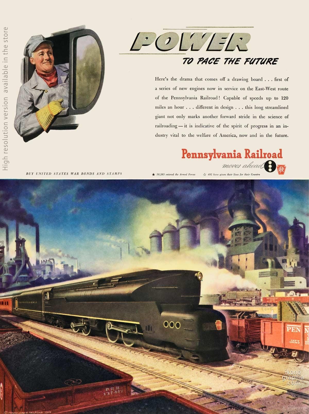 Power to Pace the future - Pennsylvania Railroad ad - Life Magazine. January 22, 1945