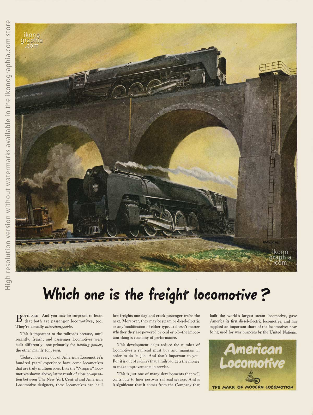 Which one is the freight locomotive? - American Locomotive ad, artwork by Peter Helck - Life Magazine. June 25, 1945